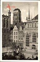 Gdańsk Danzig, Langer Markt mit Kirche St. Marien, Artushof mit Rathaus