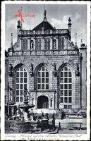 Gdańsk Danzig, Artushof mit dem schönsten Festsaal der Stadt, Neptunbrunnen