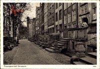 Gdańsk Danzig, Blick in die Frauengasse mit Sternwarte, Wasserspeier