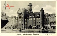 Gdańsk Danzig, Langebrücke mit Blick auf die Sternwarte und Frauentor