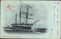 Waterloo Wallonien Wallonisch Brabant, Wreck on shore, Segelschiff gestrandet