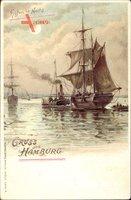 Hamburg, Hamburger Hafen bei Nacht, Segelschiffe