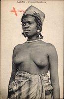 Dakar Senegal, Femme Bambara, Barbusige Frau, Portrait