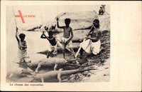 La chasse des crocodiles, Afrikaner bei der Krokodiljagd, Gewehr