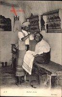Barbier Arabe, Friseur bei der Arbeit, Neurdein Frères N.D. 41 T, Maghreb