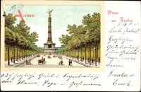 Berlin Tiergarten, Blick auf die Siegessäule, Passanten