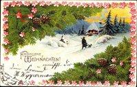 Frohe Weihnachten, Jäger mit Hund, Tannenzweige, Winter