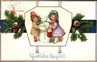 Glückwunsch Neujahr, Kinder, Schneemann, Tannenzweige