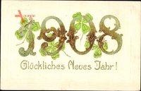 Glückwunsch Neujahr, Jahreszahl 1908, Kleeblätter