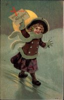 Glückwunsch Neujahr, Mädchen in Wintermantel, Mond