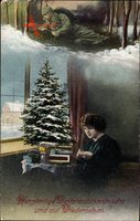 Frohe Weihnachten, Frau denkt an Geliebten, Soldat, Tannenbaum