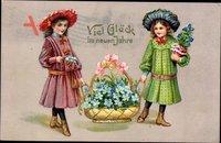 Glückwunsch Neujahr, Zwei Mädchen, Blumenkorb