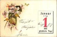 Glückwunsch Neujahr, Kalenderblatt, 1 Januar, 365 glückliche Tage