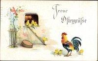 Glückwunsch Ostern, Hühnerstall, Hahn, Henne, Küken