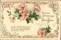 Glückwunsch Neujahr, Blumen, Blüten, Hufeisen