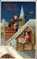 Glückwunsch Neujahr, Schornsteinfeger, Frau am Fenster