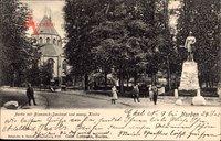 Norden Ostfriesland, Partie mit Bismarckdenkmal und evangelischer Kirche