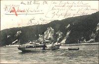 Insel Rügen in der Ostsee, Fährschiff Arkona an den Kreidefelsen