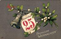 Glitzer Glückwunsch Weihnachten, Mistelzweig, Glocke, Kalenderblatt