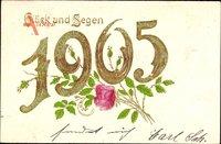 Glückwunsch Neujahr, Jahreszahl 1905, Rosenblüte, Glück und Segen