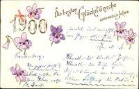 Glückwunsch Neujahr, Jahreszahl 1900, lila Blüten