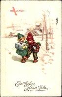 Glückwunsch Neujahr, Junge und Mädchen mit Geschenk, Schnee