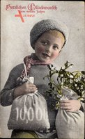 Glückwunsch Neujahr, Kleiner Junge mit Geldsäcken, Mistelzweige