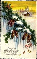 Glückwunsch Neujahr, Tannenzweig mit Zapfen, Hagebutten, Kirche