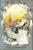 Passepartout Glückwunsch Neujahr, Leidgebet, Straßenpartie im Winter