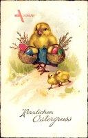 Glückwunsch Ostern, Drei Küken mit Ostereiern