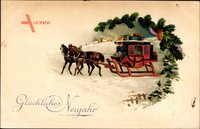 Glückwunsch Neujahr, Pferdekutsche, Tannenzapfen, Kleeblätter, EAS
