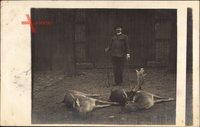 Jäger mit erlegten Tieren, Damwild, Hirsch