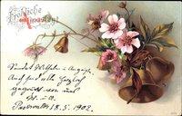 Glückwunsch Pfingsten, Rosa Blüten und Glocken