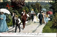 Glückwunsch Pfingsten, Spaziergänger auf einer Straße, Kinder