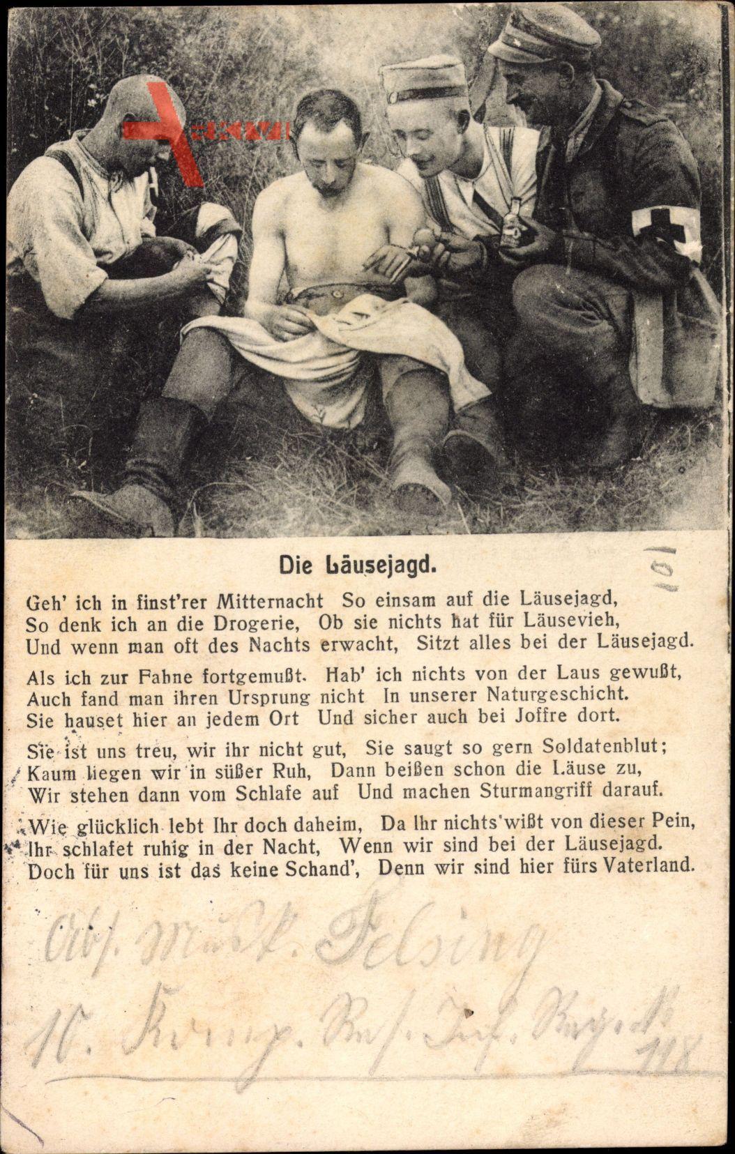 Die Läusejagd, Deutsche Soldaten, Entlausen,Geh ich in finstrer Mitternacht