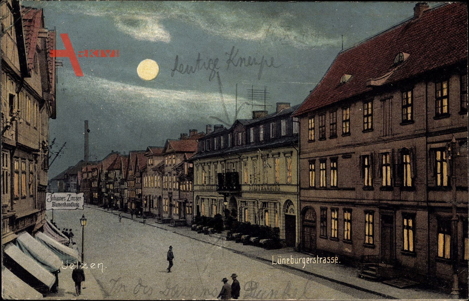 Uelzen in Niedersachsen, Lüneburgerstraße bei Nacht, Mondschein