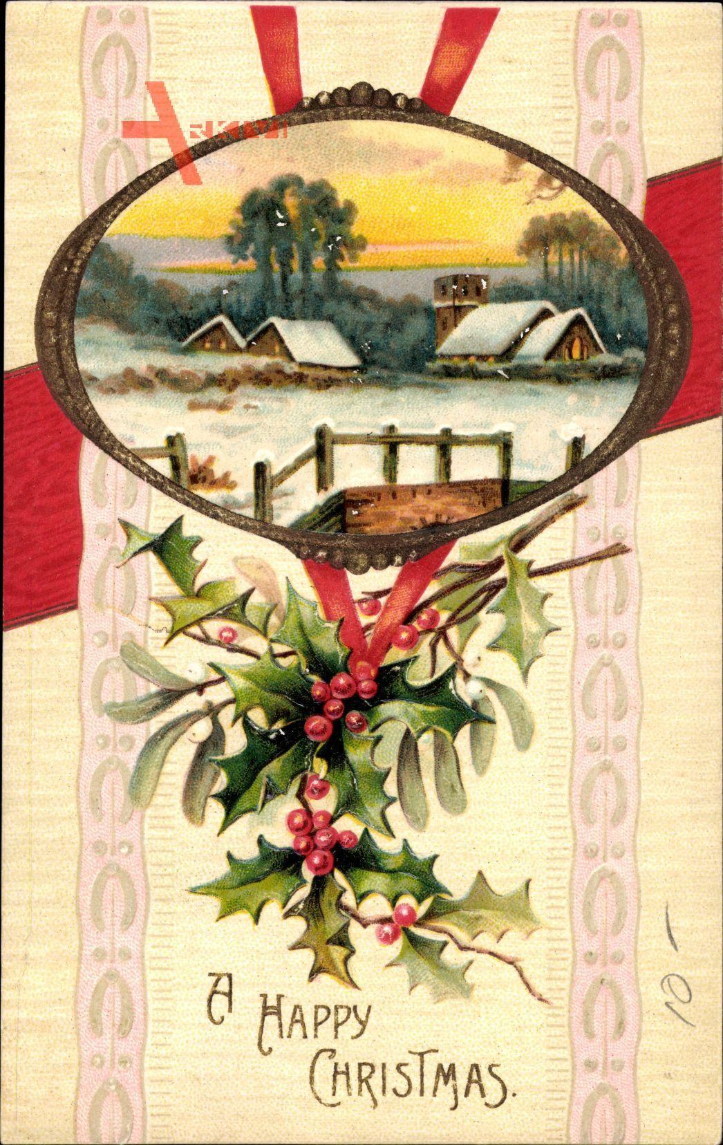 Passepartout Frohe Weihnachten, Winteridyll, Ort, Schnee