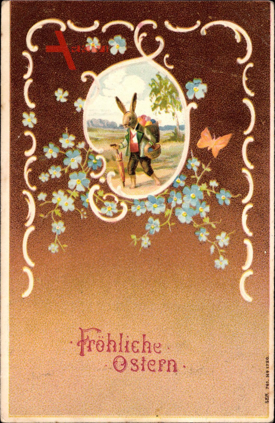 Glückwunsch Ostern, Osterhase, Spaziergang, Vergissmeinnicht