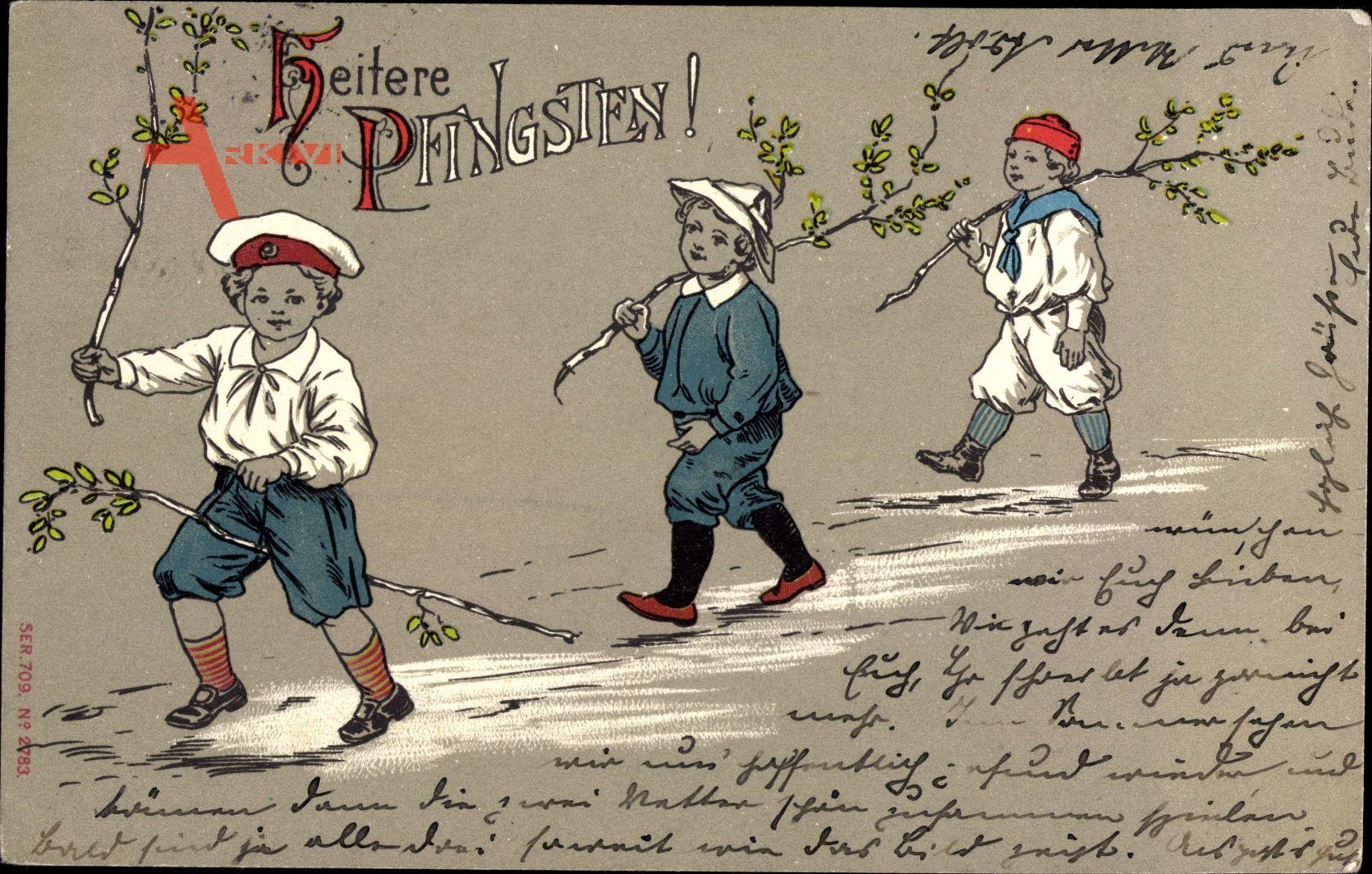 Glückwunsch Pfingsten, Drei Kinder mit Birkenästen