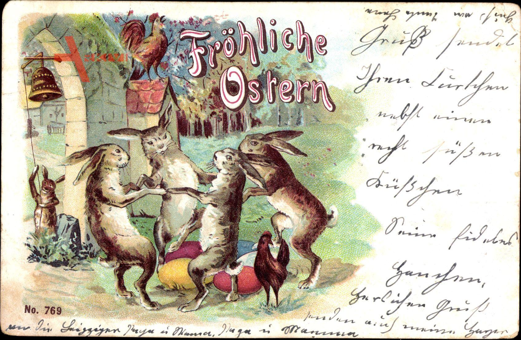 Glückwunsch Ostern, Osterhasen, Ostereier, Hahn kräht