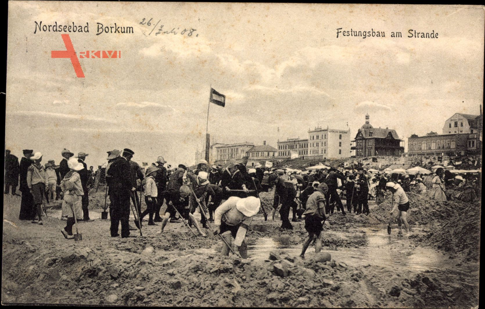 Insel Borkum im Kreis Leer, Nordseebad, Festungsgbau am Strande