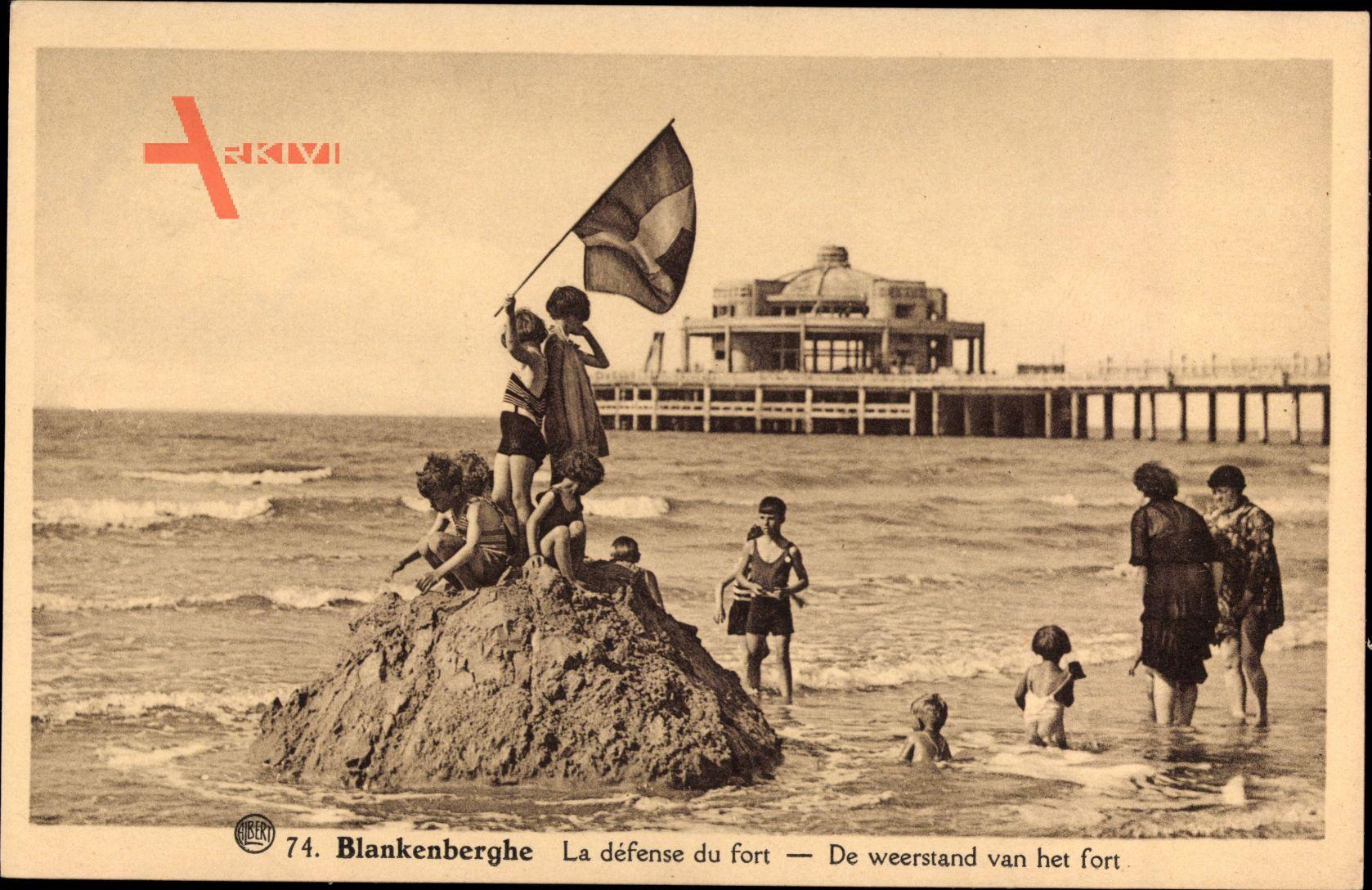 Blankenberghe Westflandern, Défense du Fort, Sandburg, Kinder