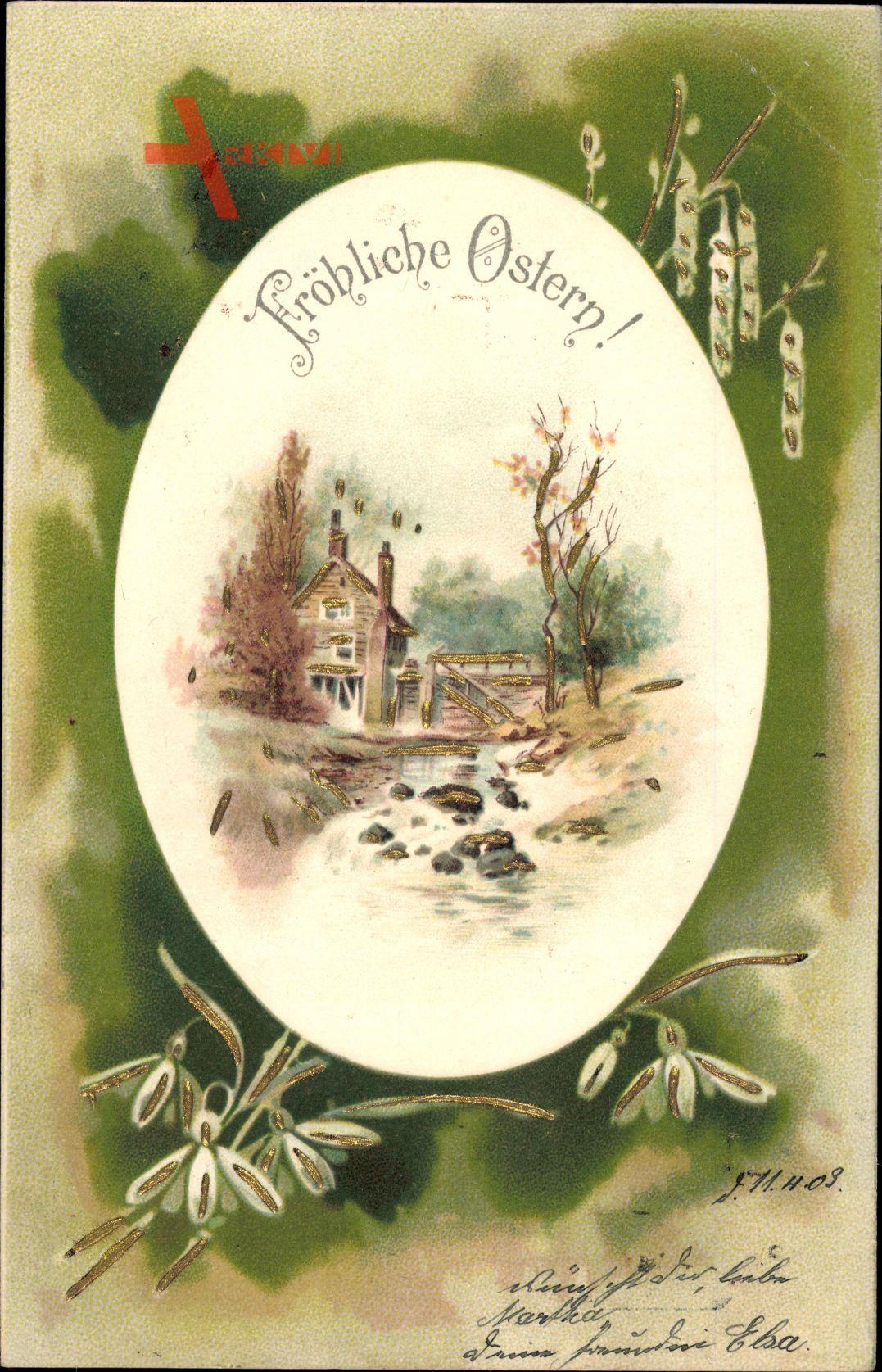 Glückwunsch Ostern, Osterei, Frühlingslandschaft, Wassermühle