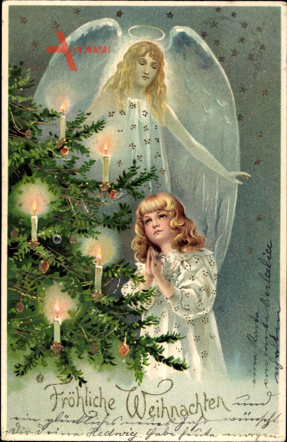 Frohe Weihnachten, Tannenbaum, Engel, Betendes Kind