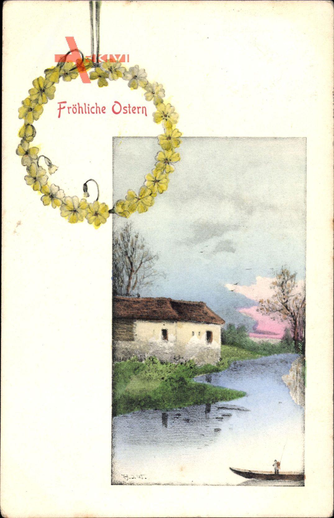 Glückwunsch Ostern, Kleeblattkranz, Flusspartie