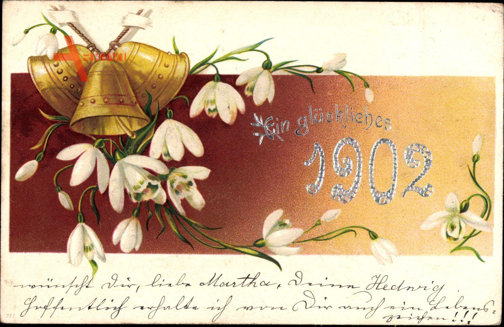 Glückwunsch Neujahr, Jahreszahl 1902, Glocken, Glockenblumen