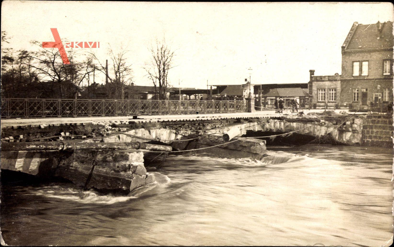 Quedlinburg am Harz, Brücke, Hochwasser in der Stadt