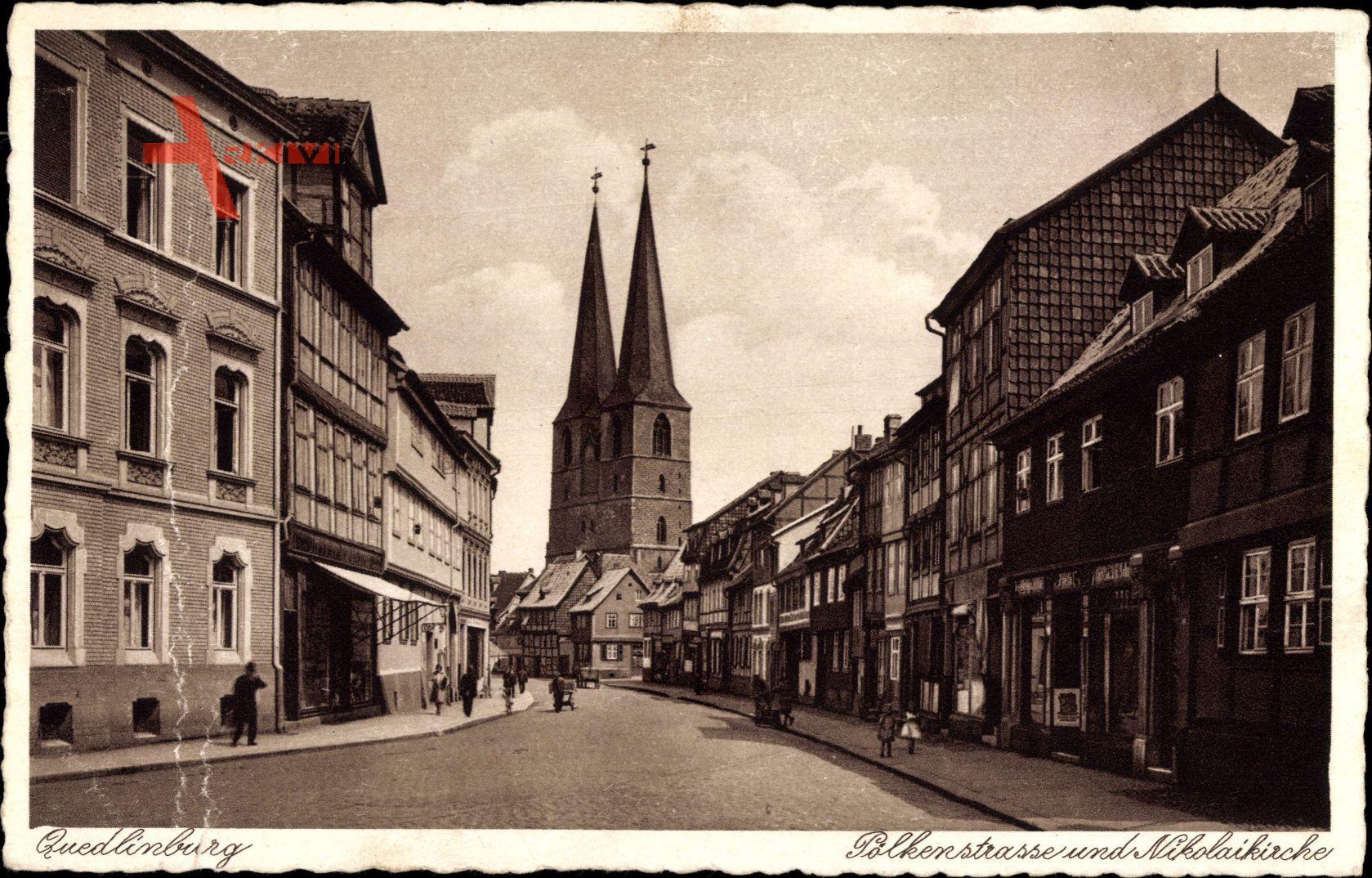 Quedlinburg am Harz, Pölkenstraße und Nikolaikirche, Geschäfte