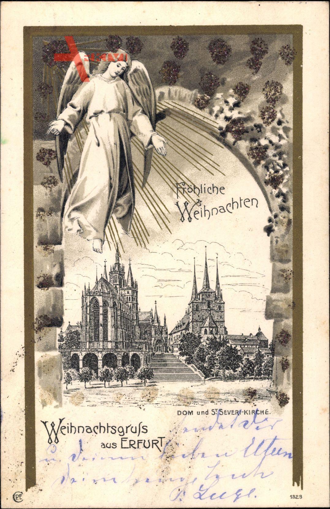 Glitzer Erfurt in Thüringen, Blick auf Dom und St. Severi Kirche, Engel
