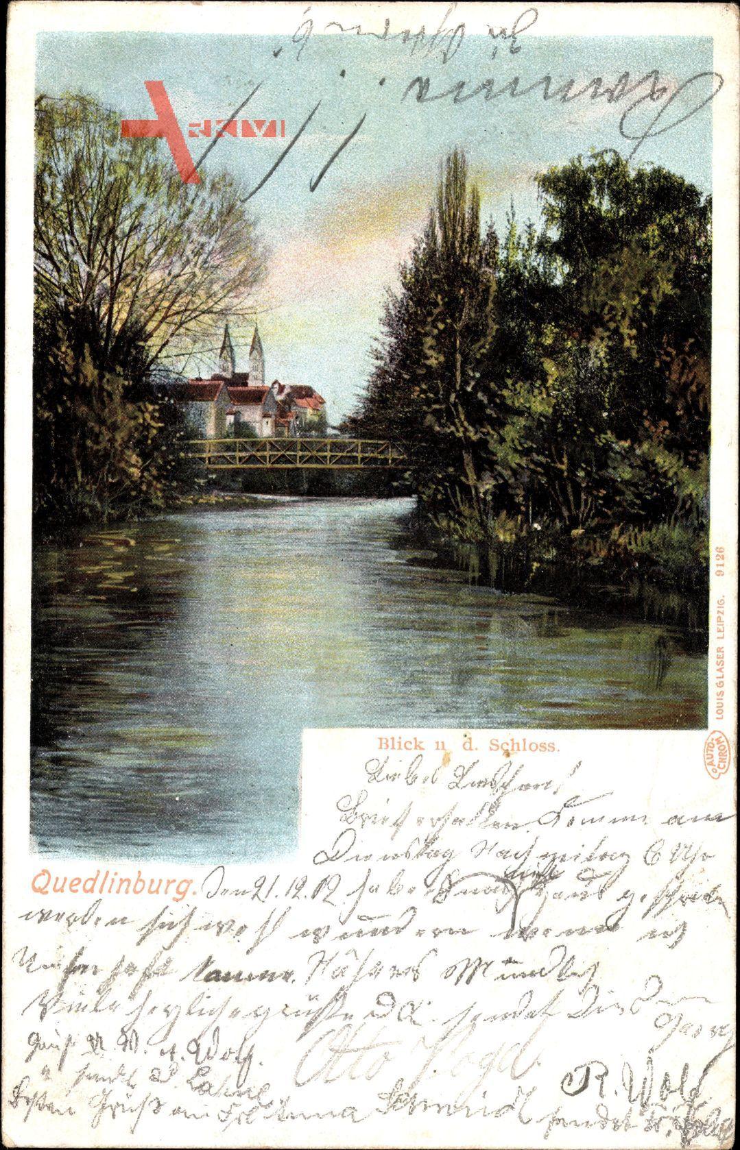 Quedlinburg im Harz, Blick auf das Schloss, Wasseransicht, Bäume